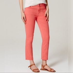 LOFT Straight Crop Jeans in Coral